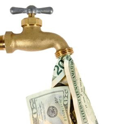 Faucet dripping money